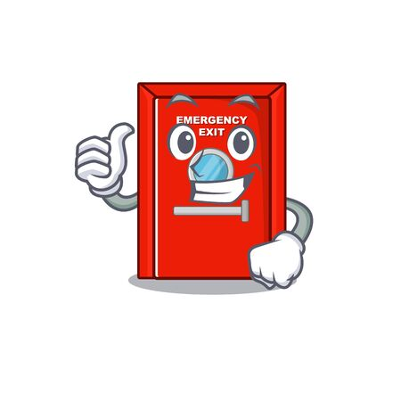 Thumbs up emergency exit door isolated the cartoon