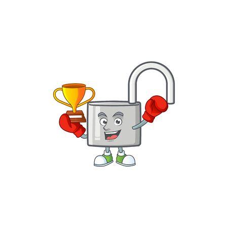 Boxing winner silver unlock key on white background. vector illustration Ilustração