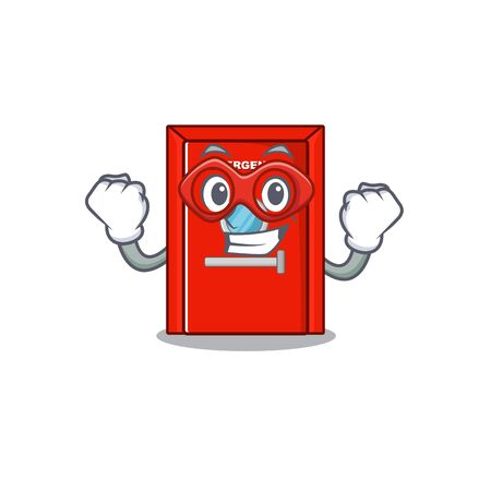 Super hero emergency exit door isolated the cartoon