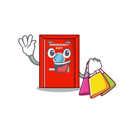 Shopping emergency exit door isolated the cartoon