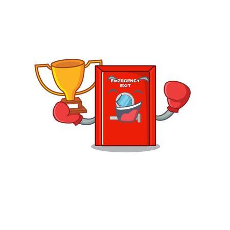 Boxing winner emergency exit door with cartoon shape
