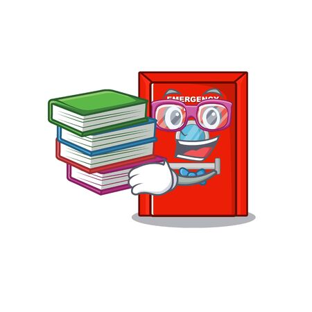 Student with book emergency exit door with cartoon shape
