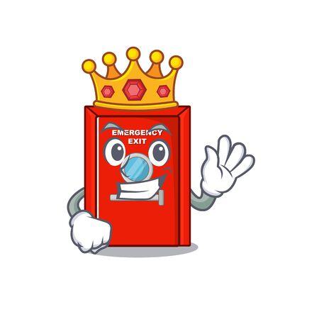 King emergency exit door with cartoon shape vector illustration 向量圖像