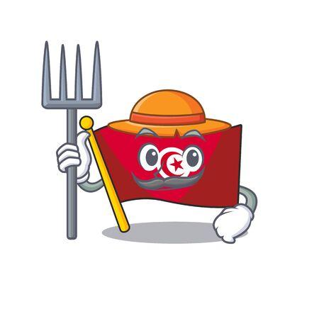 Farmer flag tunisia on in the mascot
