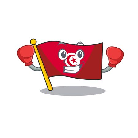 Boxing flag tunisia on in the mascot