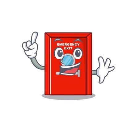 Finger emergency exit door with cartoon shape vector illustration