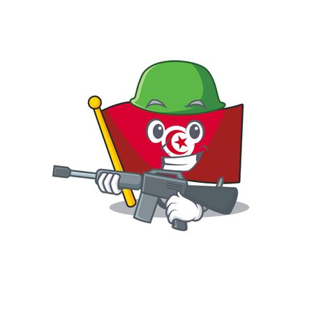 Army flag tunisia on in the mascot  イラスト・ベクター素材