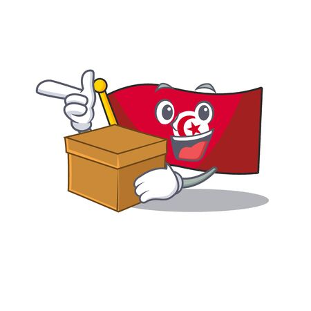 With box flag tunisia placed above mascot table vector illustration