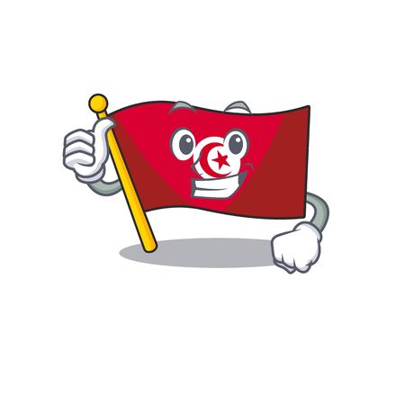 Thumbs up flag tunisia placed above mascot table vector illustration