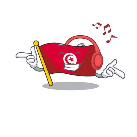 Listening music flag tunisia cartoon in character shape