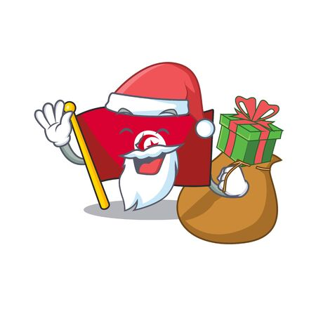 Santa with gift flag tunisia character isolated with cartoon