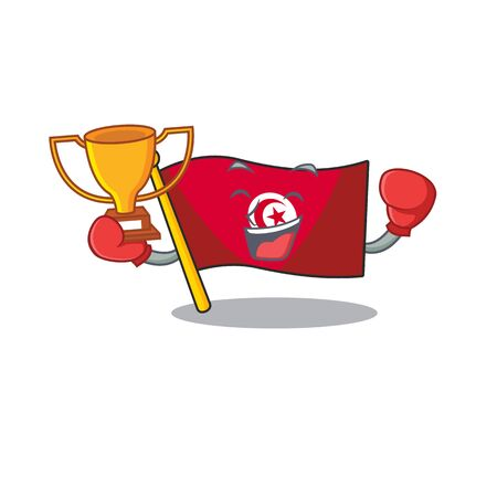 Boxing winner flag tunisia character isolated with cartoon