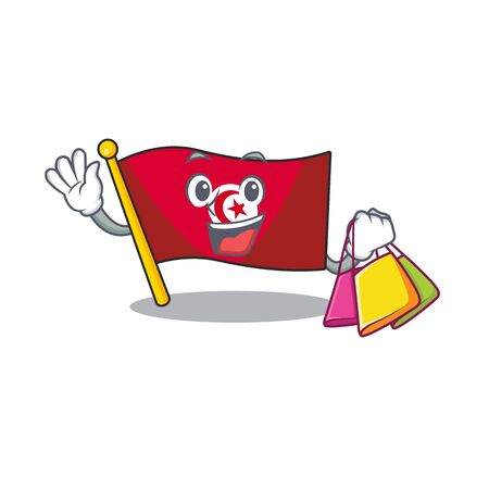 Shopping flag tunisia placed above mascot table vector illustration