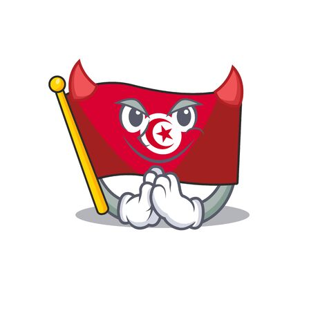 Devil flag tunisia cartoon in character shape Stock Illustratie