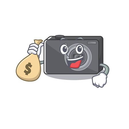 With money bag digital camera in the cartoon shape
