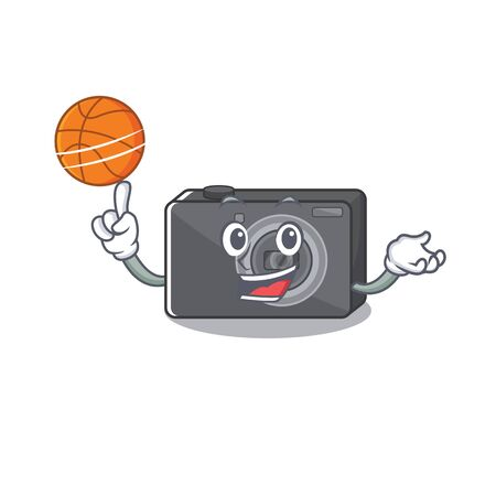 With basketball digital camera in the cartoon shape vector illustration