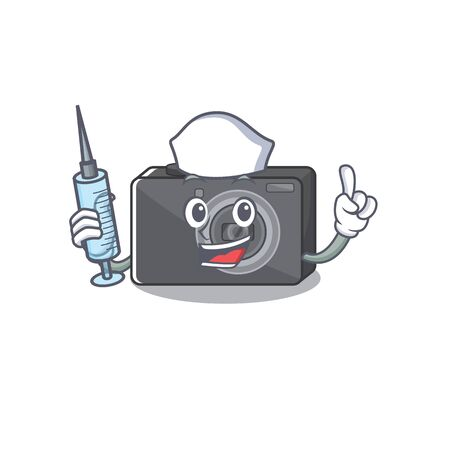 Nurse digital camera isolated with the character vector illustration 일러스트