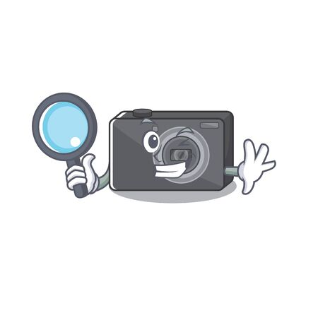 Detective digital camera isolated with the character