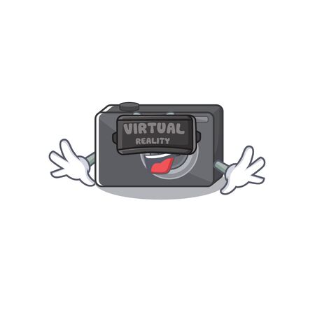 Virtual reality digital camera with on the mascot vector illustration