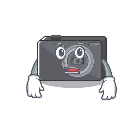 Afraid digital camera with on the mascot vector illustration 일러스트
