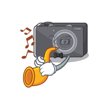 With trumpet digital camera with on the mascot vector illustration 일러스트