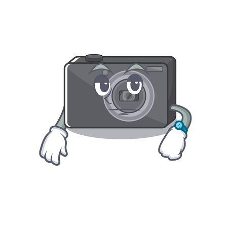 Waiting digital camera on a cartoon table vector illustration