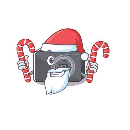 Santa with candy digital camera on a cartoon table 일러스트