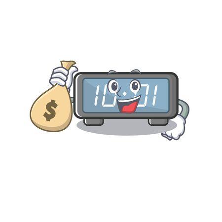 With money bag digital clock isolated in the mascot vector illustration Ilustração
