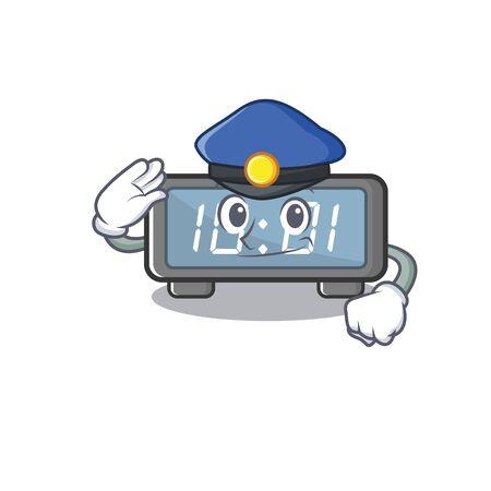 Police digital clock isolated in the mascot Ilustração