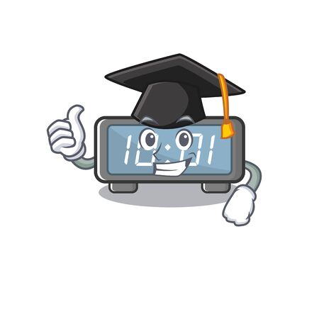Graduation digital clock clings to cartoon wall vector illustration Banco de Imagens - 131548747