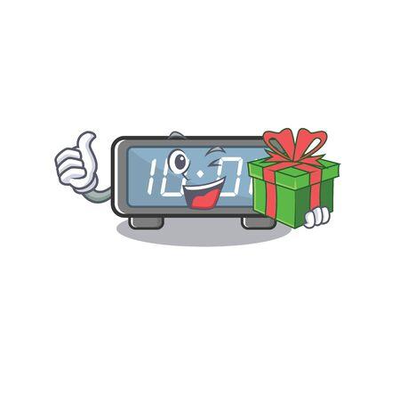 With gift digital clock cartoon in character shape 版權商用圖片 - 131557662