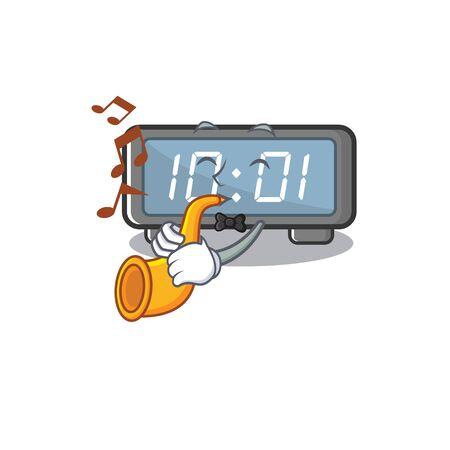 With trumpet digital clock cartoon in character shape vector illustration