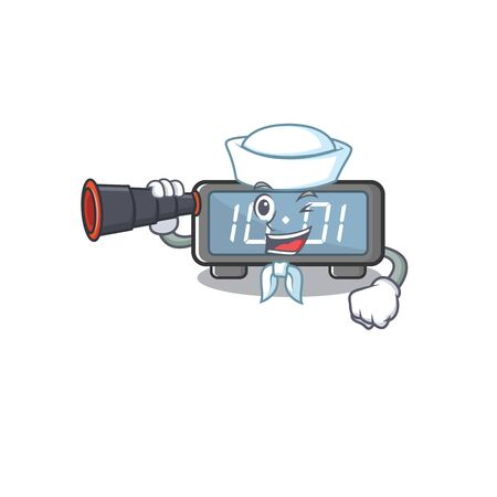 Sailor with binocular digital clock cartoon in character shape vector illustration