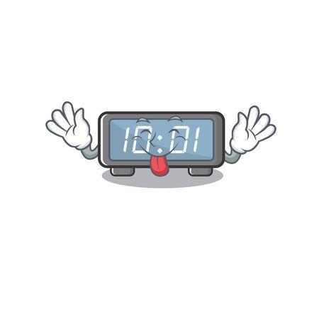 Lengua hacia fuera el reloj digital en una ilustración de vector de silla de dibujos animados