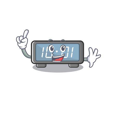 Finger digital clock on a cartoon chair vector illustration Stock Illustratie
