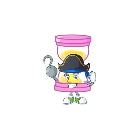 Pirate cartoon sandglass with character mascot shape. vector illustration