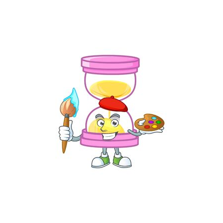 Painter cartoon sandglass with character mascot shape. vector illustration