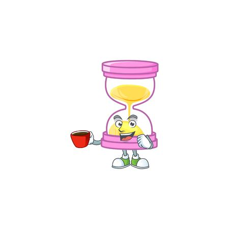 Drinking in cup the sandglass for a deadline calculate. vector illustration Illustration