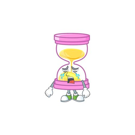 Crying icon sandglass in the cartoon character vector illustration  イラスト・ベクター素材