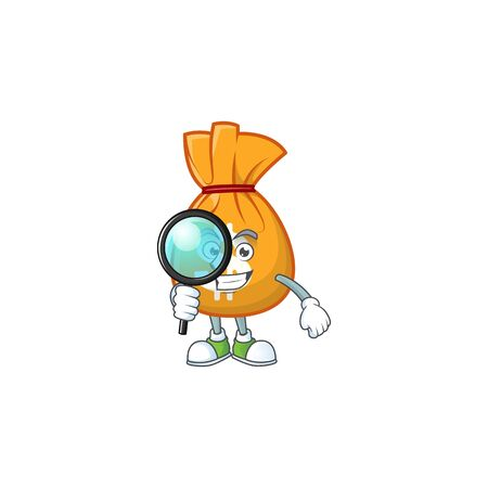 Detective cartoon bag of money with mascot vector illustration