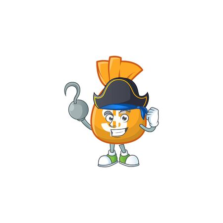 Pirate bag of money in the character vector illustration Çizim