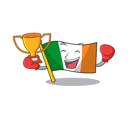 Boxing winner flag ireland mascot the character shape Illustration