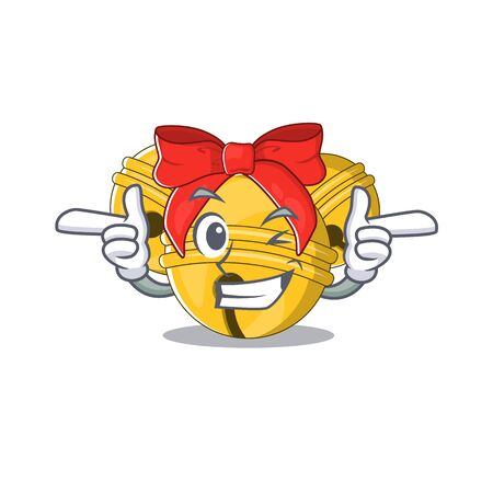 Wink Jingle bell cartoon isolated with mascot  イラスト・ベクター素材