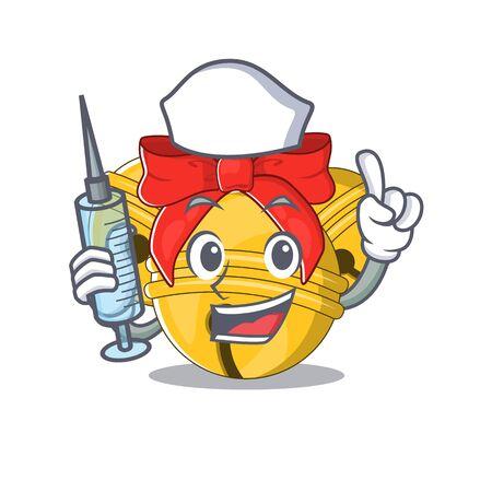 Nurse Jingle bell cartoon isolated with mascot