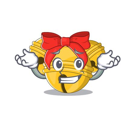 Grinning Jingle bell cartoon isolated with mascot