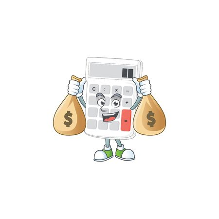 With money bag icon calculator for concept the accounting. vector illustration Ilustração