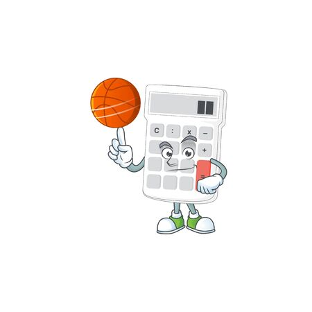 With basketball icon calculator for concept the accounting. vector illustration