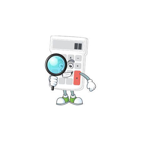 Detective cartoon calculator white for calculate tool. vector illustration Ilustração