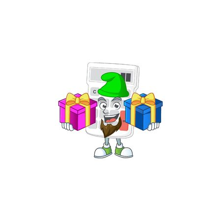 Bring two gifts white calculator cartoon character with mascot vector illustration