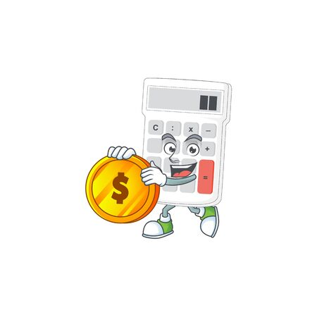Bring coin white calculator cartoon character with mascot vector illustration
